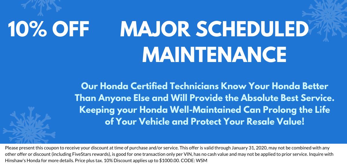 Major Scheduled Maintenance