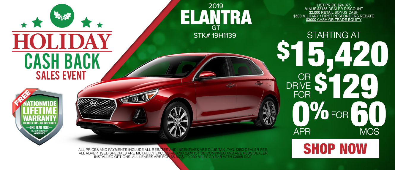 2019 Elantra GT as low as $129/mo