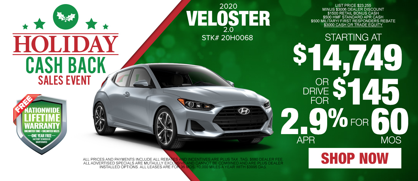 2020 Hyundai Veloster - Drive for as low as $145/mo