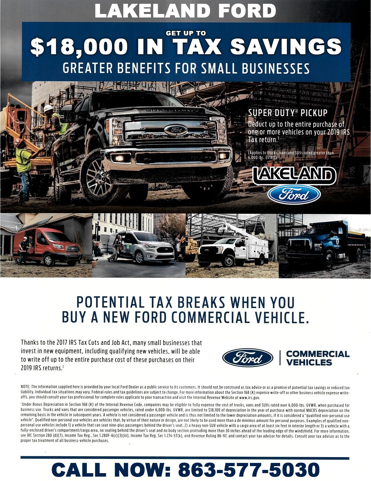 Ford Commercial Vehicle Tax Incentives for 2019