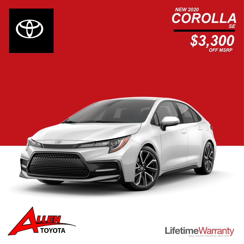 New 2020 Corolla SE