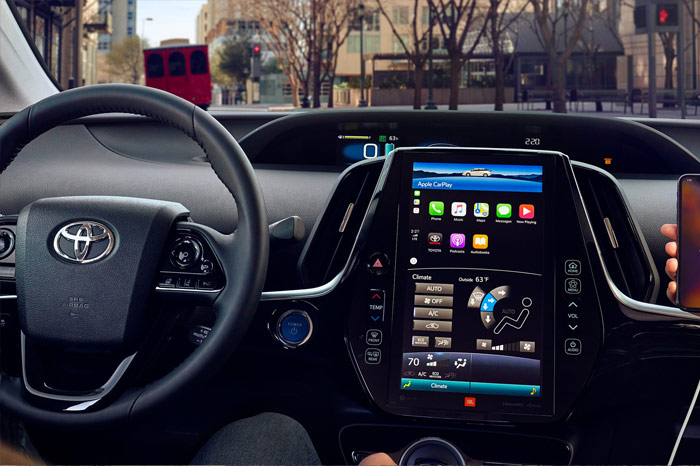 Interior steering wheel and dashboard of Toyota Prius Prime