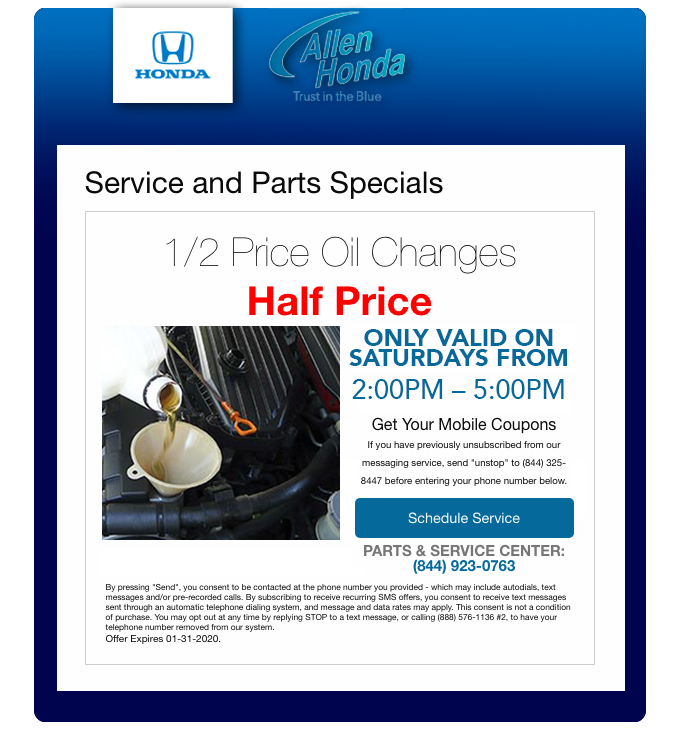 Half Off Oil Changes on Saturday from 2-5pm
