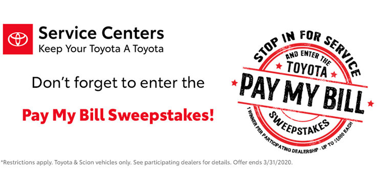 Toyota Pay My Bill Sweepstakes