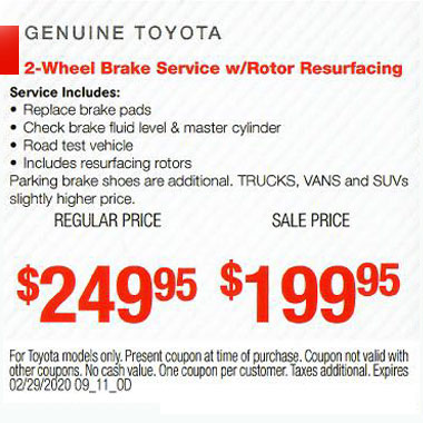 2 Wheel Brake Service w/Rotor Resurfacing