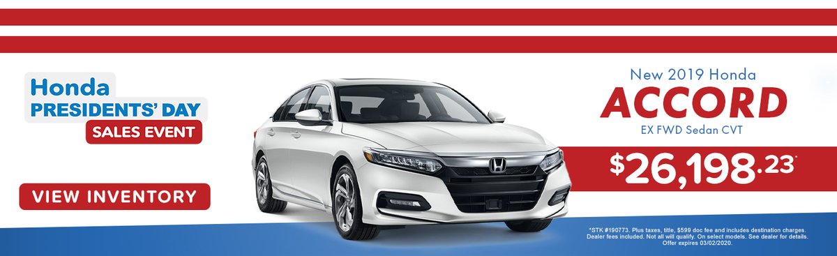 New 2019 Honda Accord EX FWD Sedan CVT