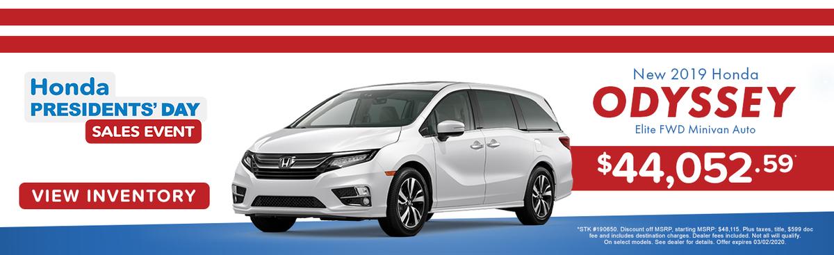 New 2019 Honda Odyssey Elite FWD Minivan Auto
