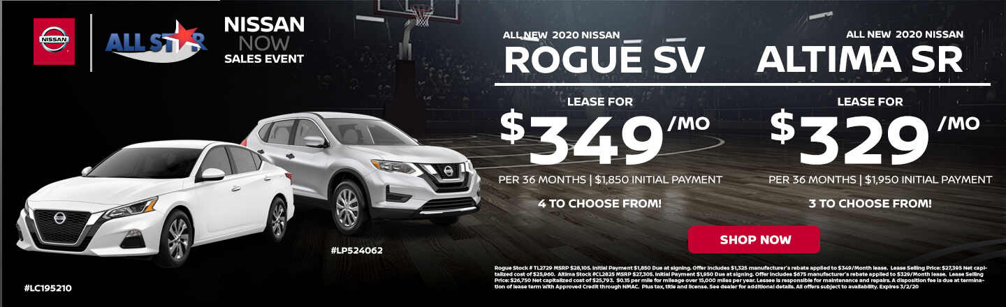 2020 Nissan Rogue and Altima