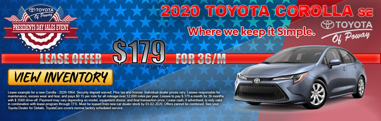 2020 Corolla  SE