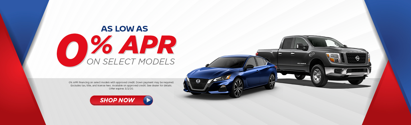 AS LOW AS 0% APR ON SELECT MODELS
