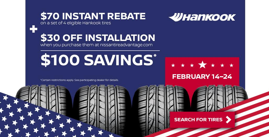Save $100 when you purchase 4 tires and insta