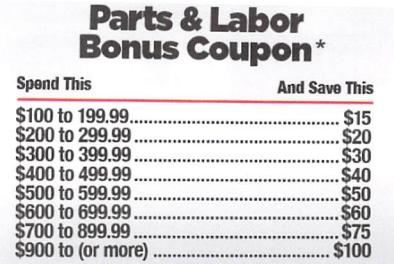 Parts & Labor Bonus