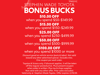 Stephen Wade Toyota Bonus Bucks