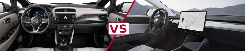 Premier Nissan of Fremont 2020 Nissan Leaf Vs Model 3 Interior Views