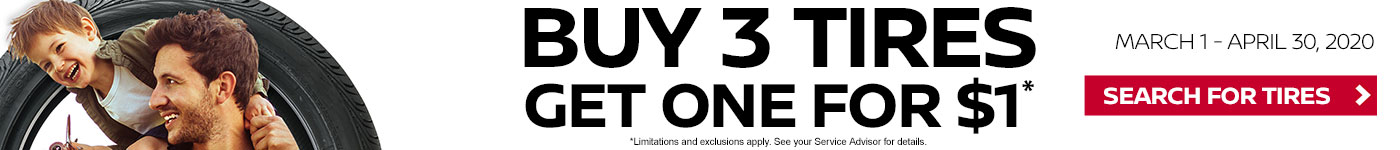 Buy 3 Tires, Get One for $1 at Headquarter Nissan of Columbus