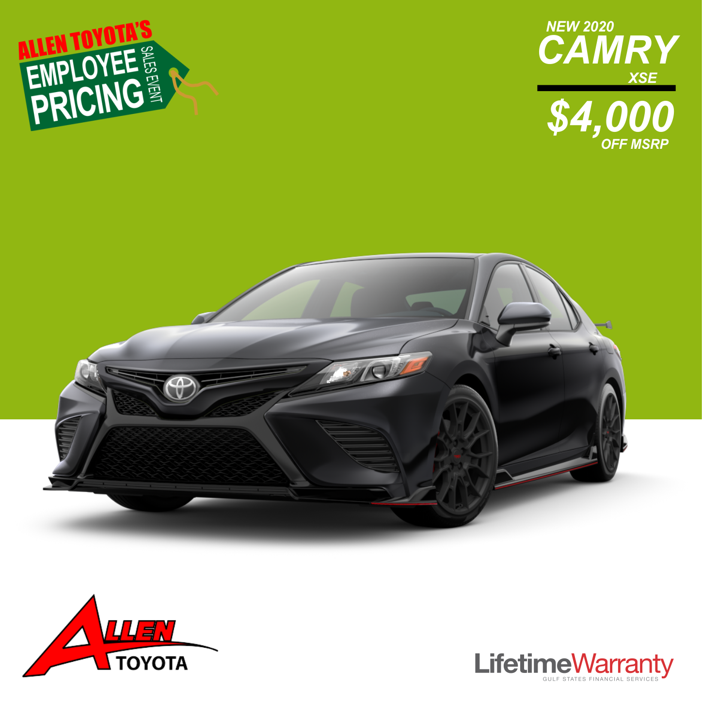 New 2020 Camry XSE Save $4,000!