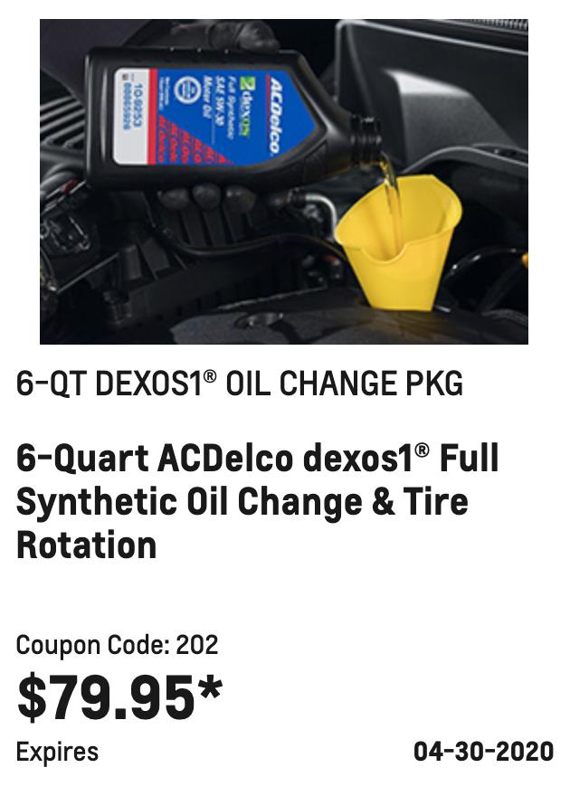 6-QT Dexos1 Oil Change Package