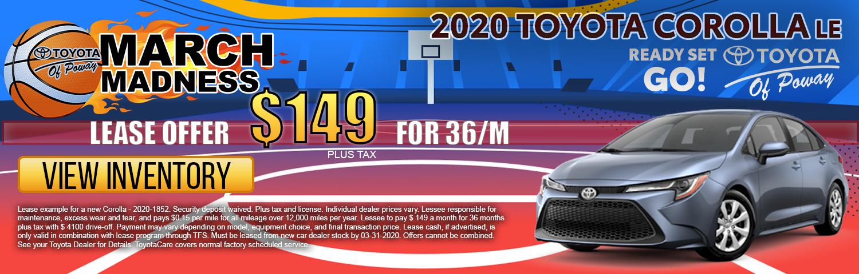 2020 Corolla  LE