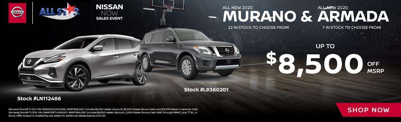2020 Nissan Murano and Armada