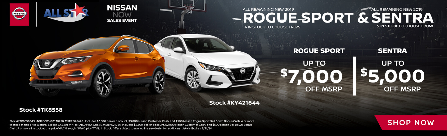 2020 Nissan Rogue Sport and Sentra