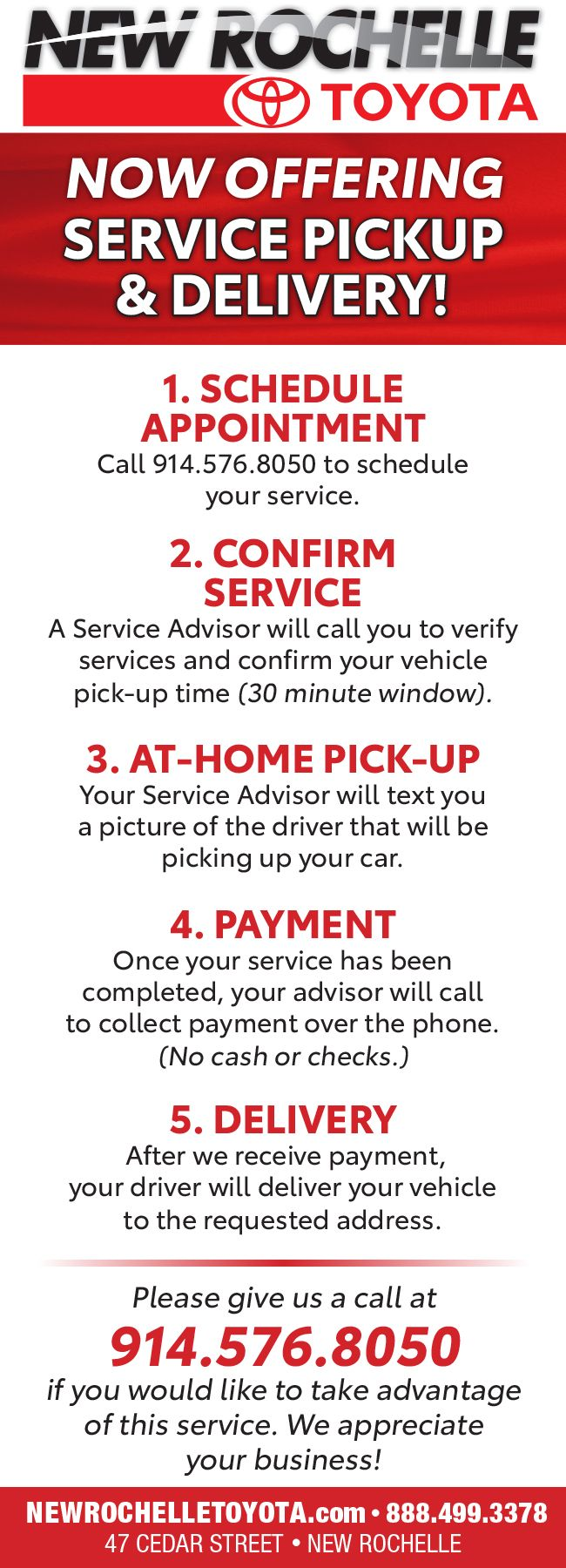 Service Pickup & Delivery at New Rochelle Toyota, NY
