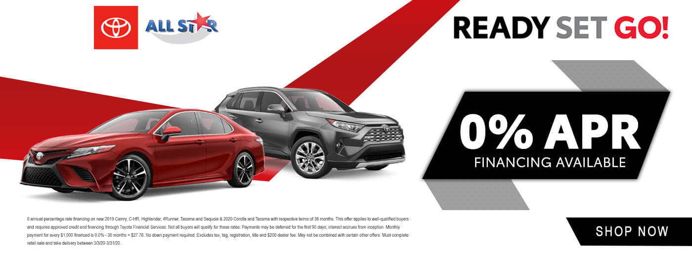 0% APR Financing on New 2020 Toyota Camrys