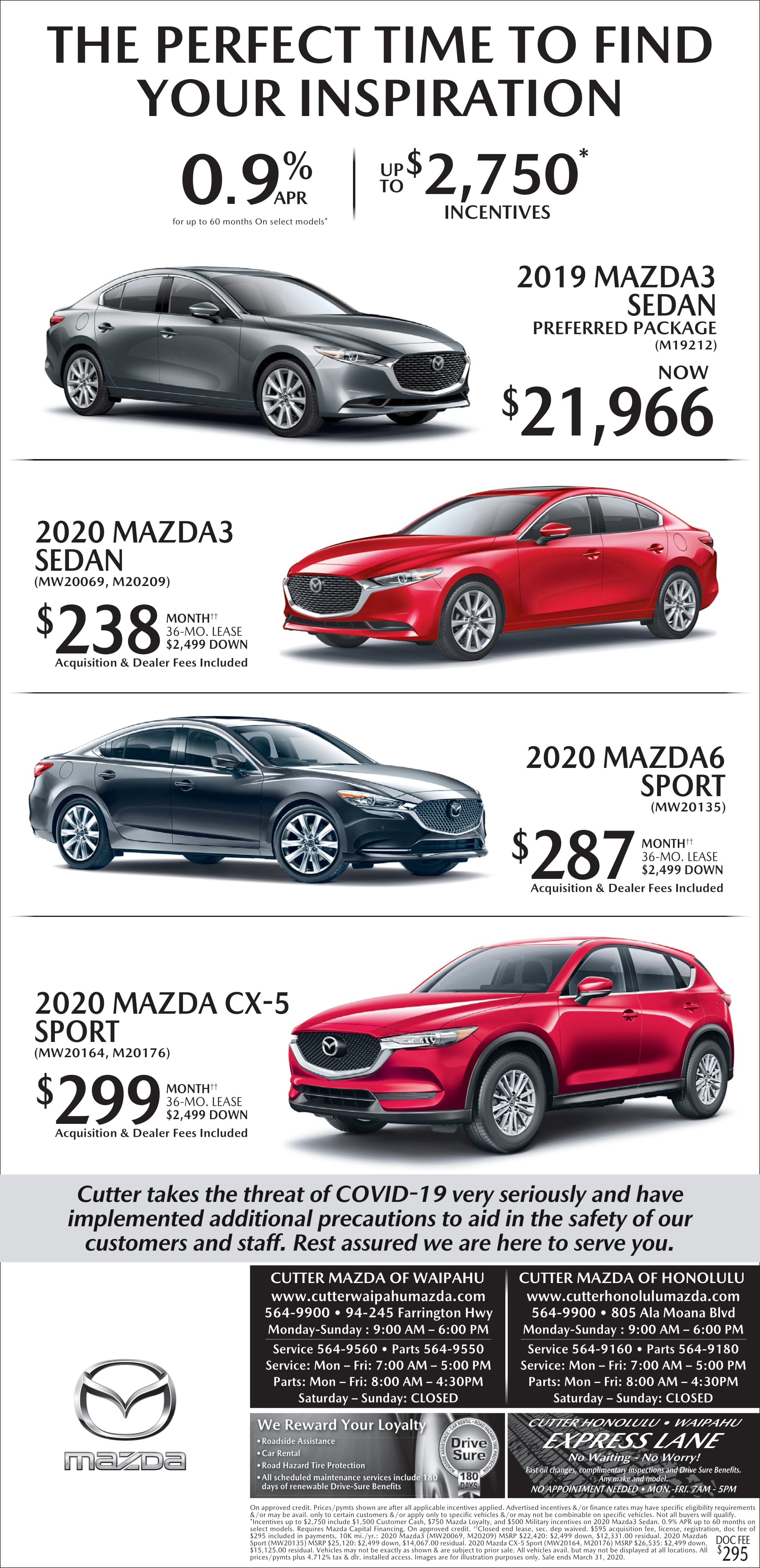 Cutter Mazda Weekend Ad