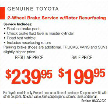 2-Wheel Brake Service w/Rotor Resurfacing