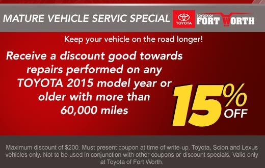 Mature Vehicle Service Special