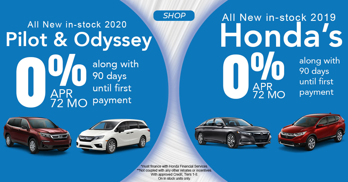 0% APR for 72 months on Honda's