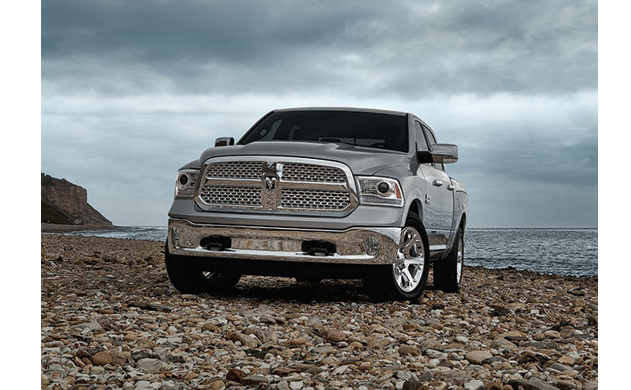 2016 ram 1500 exterior display on rocks silver gray front