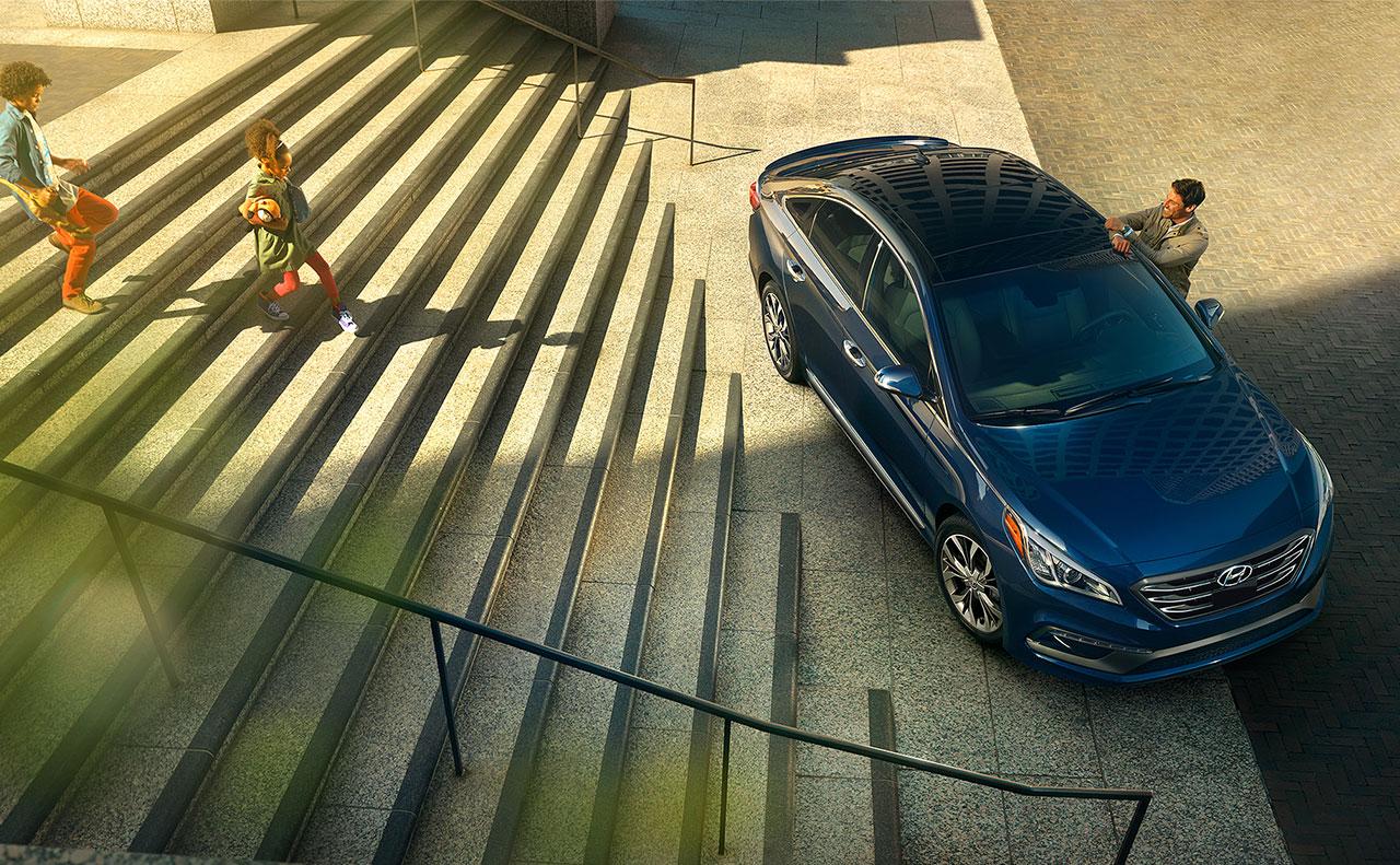2017 hyundai sonata exterior top view blue rims hood roof grilles