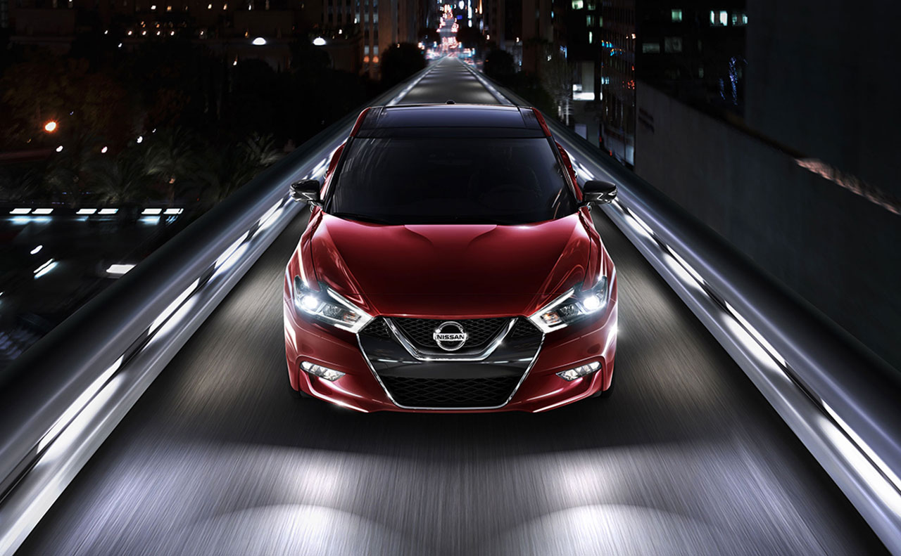 2017 nissan maxima exterior night red lights head grille hood windshield