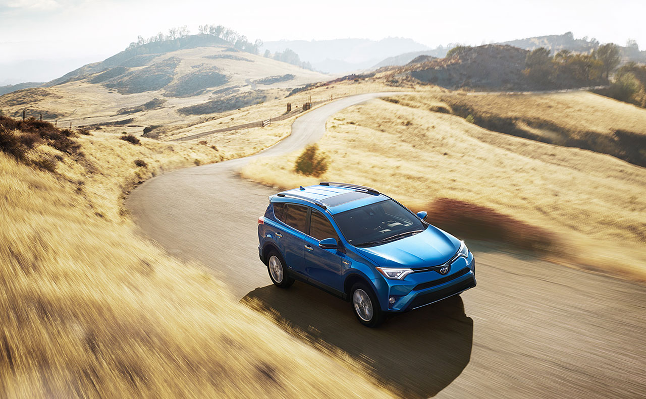 2016 toyota rav4 exterior blue in motion