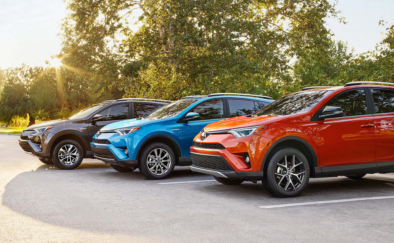 2016 toyota rav4 exterior line up orange blue black
