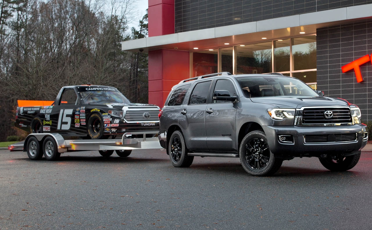 2018 toyota sequoia exterior gray rims towing