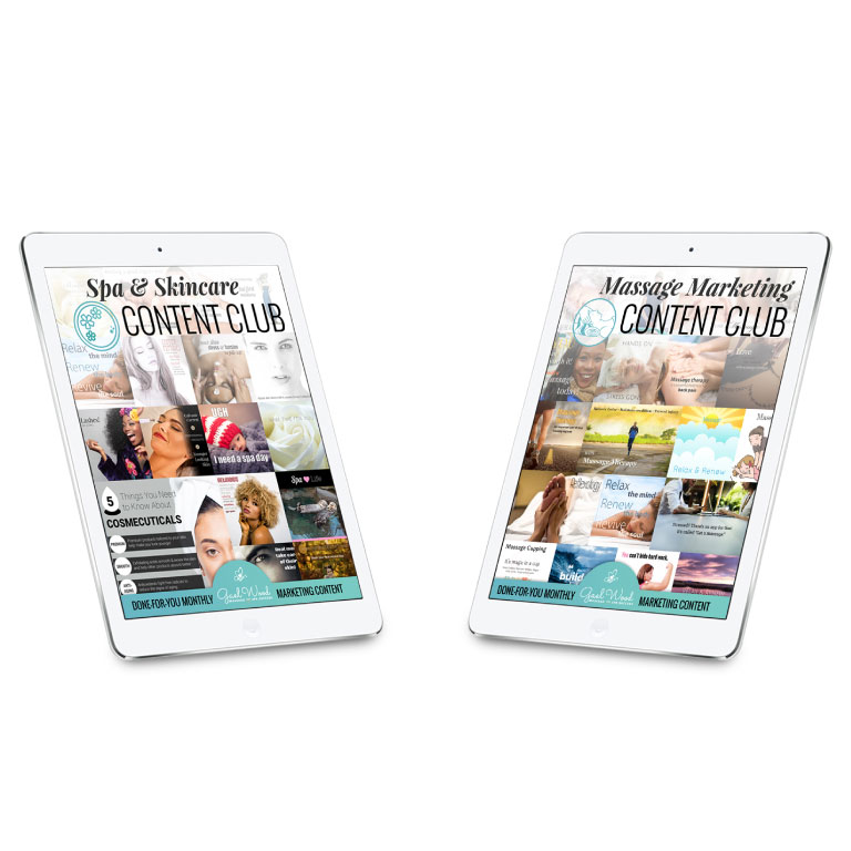 Combo Massage + Spa & Skincare Marketing Content Clubs