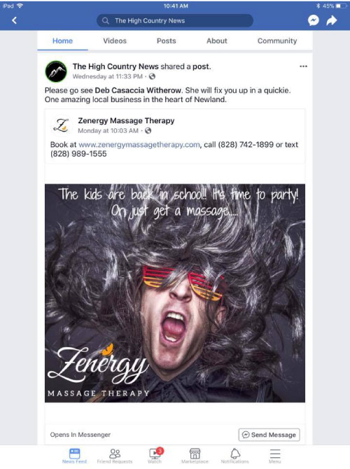 High Country News shared a post from Zenergy Massage Therapy