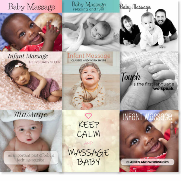 Sample infant massage social media images