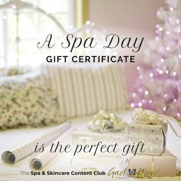 """""""A Spa Day Gift Certificate is the perfect gift"""" Christmas wrapping and decorations"""