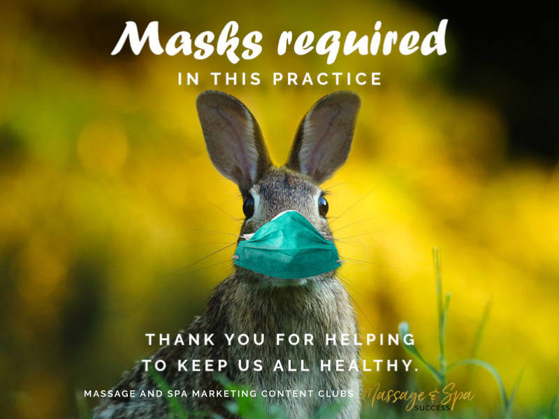 Masks required in this practice. Thank you for helping to keep us all healthy.