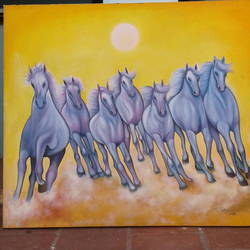 vasthu horse, 30 x 34 inch, sujitha artgallery,paintings,figurative paintings,canvas,oil,30x34inch,GAL049610005