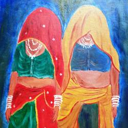 rajasthani women, 16 x 20 inch, shuchita srivastava,paintings,folk art paintings,paintings for living room,canvas,oil,16x20inch,GAL0398410006