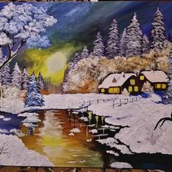 winter wonderland, 18 x 24 inch, suhail lone,paintings,landscape paintings,paintings for living room,canvas,acrylic color,18x24inch,GAL0359410009