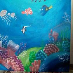 underwater, 18 x 18 inch, neha pandya ,paintings,nature paintings,paintings for living room,canvas,acrylic color,18x18inch,GAL0440410011Nature,environment,Beauty,scenery,greenery