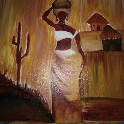 african lady , 10 x 12 inch, jhancy sethunath,paintings,folk art paintings,paintings for living room,canvas,oil,10x12inch,GAL0440610012
