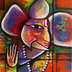 colorful god ganesha, 12 x 12 inch, rupalee pardeshi,paintings for living room,ganesha paintings,canvas board,acrylic color,12x12inch,GAL0338510026,vinayak,ekadanta,ganpati,lambodar,peace,devotion,religious,lord ganesha,lordganpati,ganpati bappa morya,ganesh chaturthi,ganesh murti,elephant god,religious,lord ganesh,ganesha,om,hindu god,shiv parvati, putra,bhakti,blessings,aashirwad,pooja,puja,aarti,ekdant,vakratunda,lambodara,bhalchandra,gajanan,vinayak,prathamesh,vignesh,heramba,siddhivinayak,mahaganpati,omkar,mushak,mouse,ladoo,modak