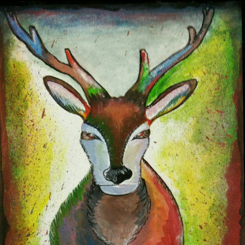 modern art of deer, 12 x 17 inch, vishnu gurumurthy,paintings,modern art paintings,paintings for living room,canvas,acrylic color,12x17inch,GAL0442510031