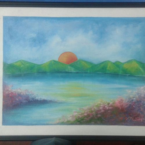 the sunrise, 14 x 18 inch, sujitha artgallery,paintings,landscape paintings,paintings for bedroom,canvas board,oil,14x18inch,GAL049610040