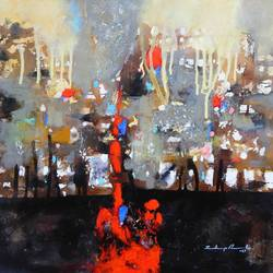 city in the night, 17 x 17 inch, sandeep rawal ,abstract paintings,paintings for dining room,canvas,acrylic color,17x17inch,GAL0251110067